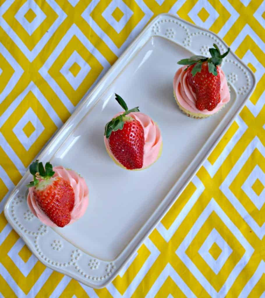 Strawberry Lemon Cupcakes with strawberry frosting