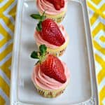 Fresh Strawberry Lemon Cupcakes #SpringSweetsWeek