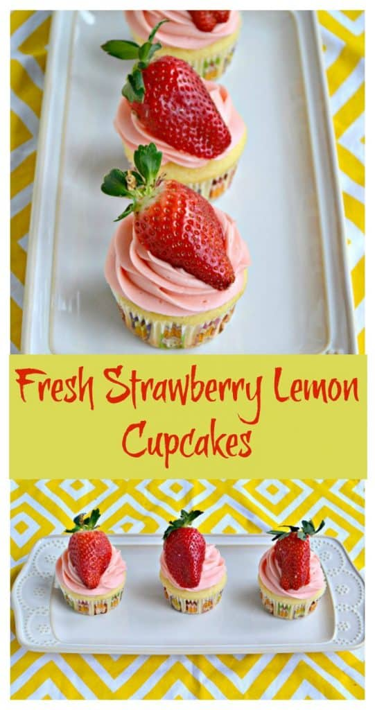 Bright lemon cupcakes with strawberry frosting