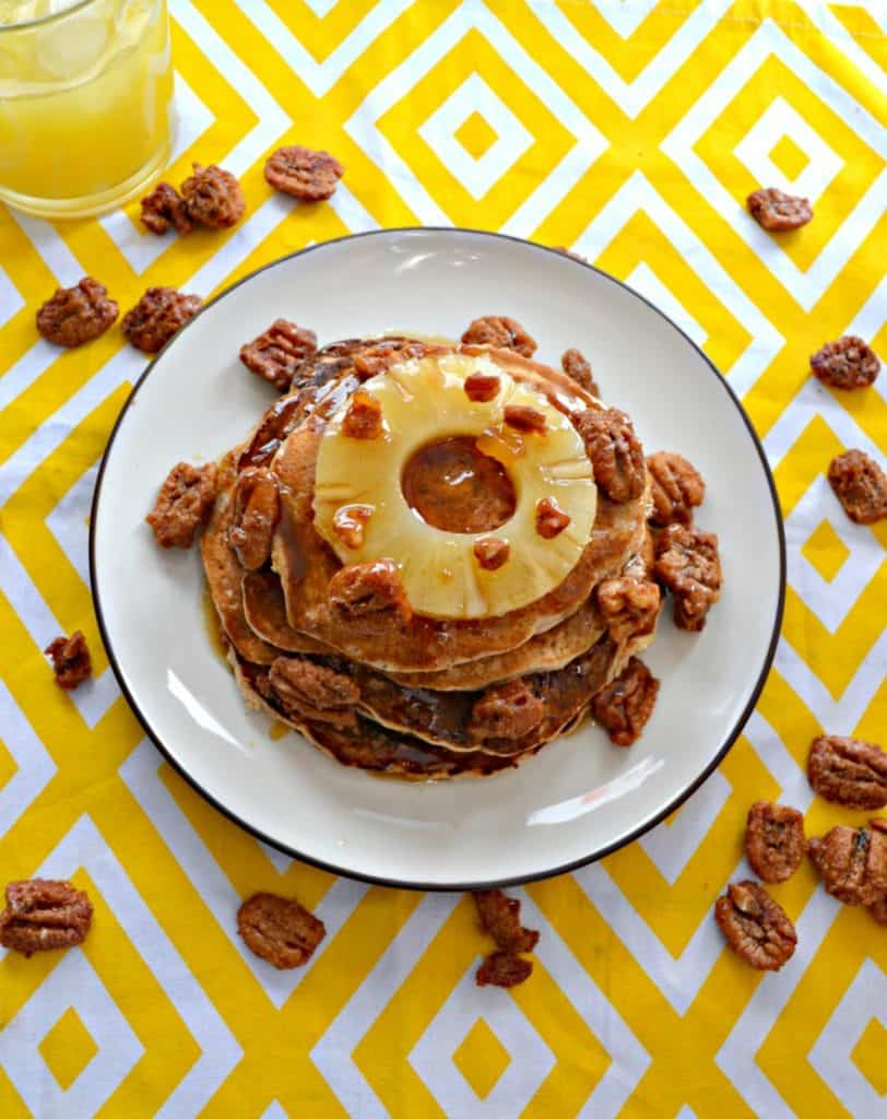 Hummingbird Pancakes topped with Pinesapple