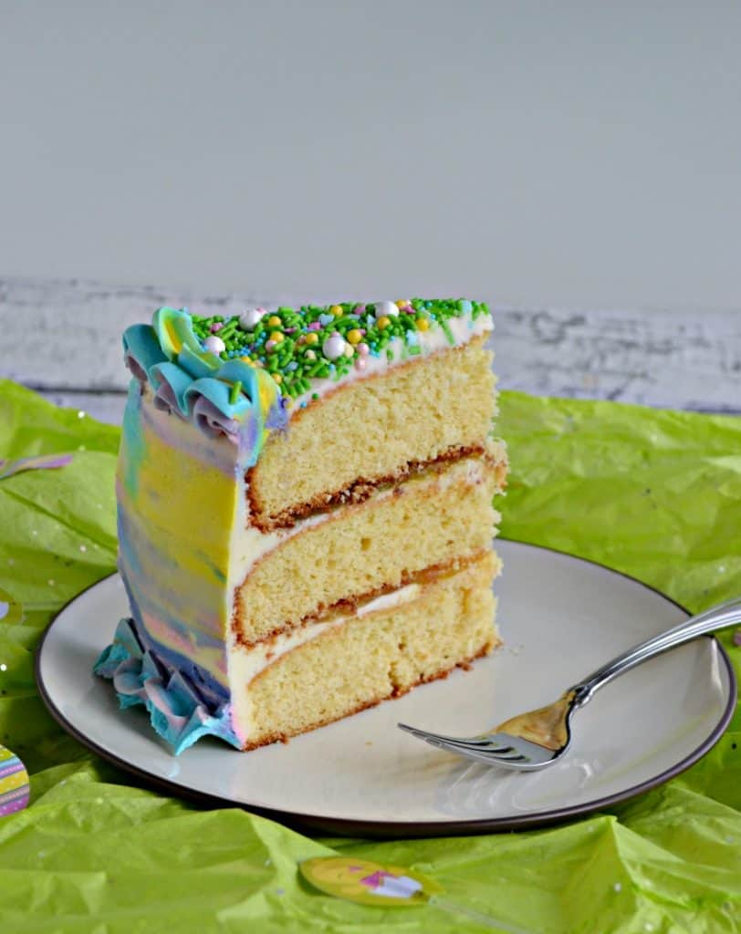 A slice of Spring Watercolor Cake