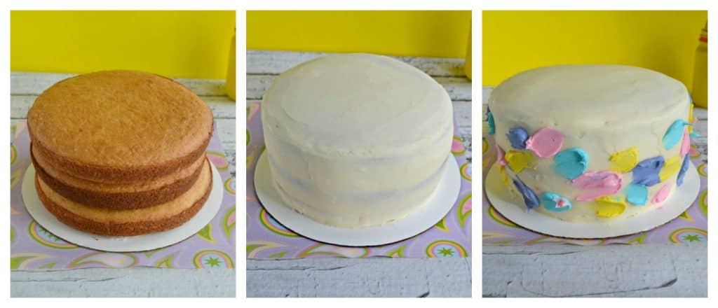 Steps o making a Spring Watercolor Cake