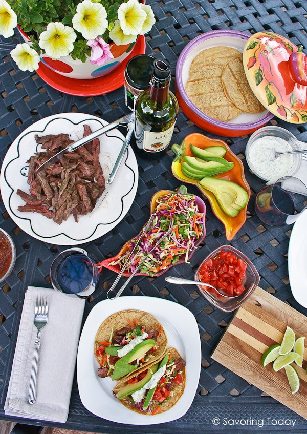 Grilled Skirt Steak Tacos with Chile Lime and Buttermilk Cilantro Marinade