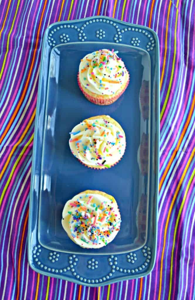 Vanilla Funfetti Cupcakes with sprinkles