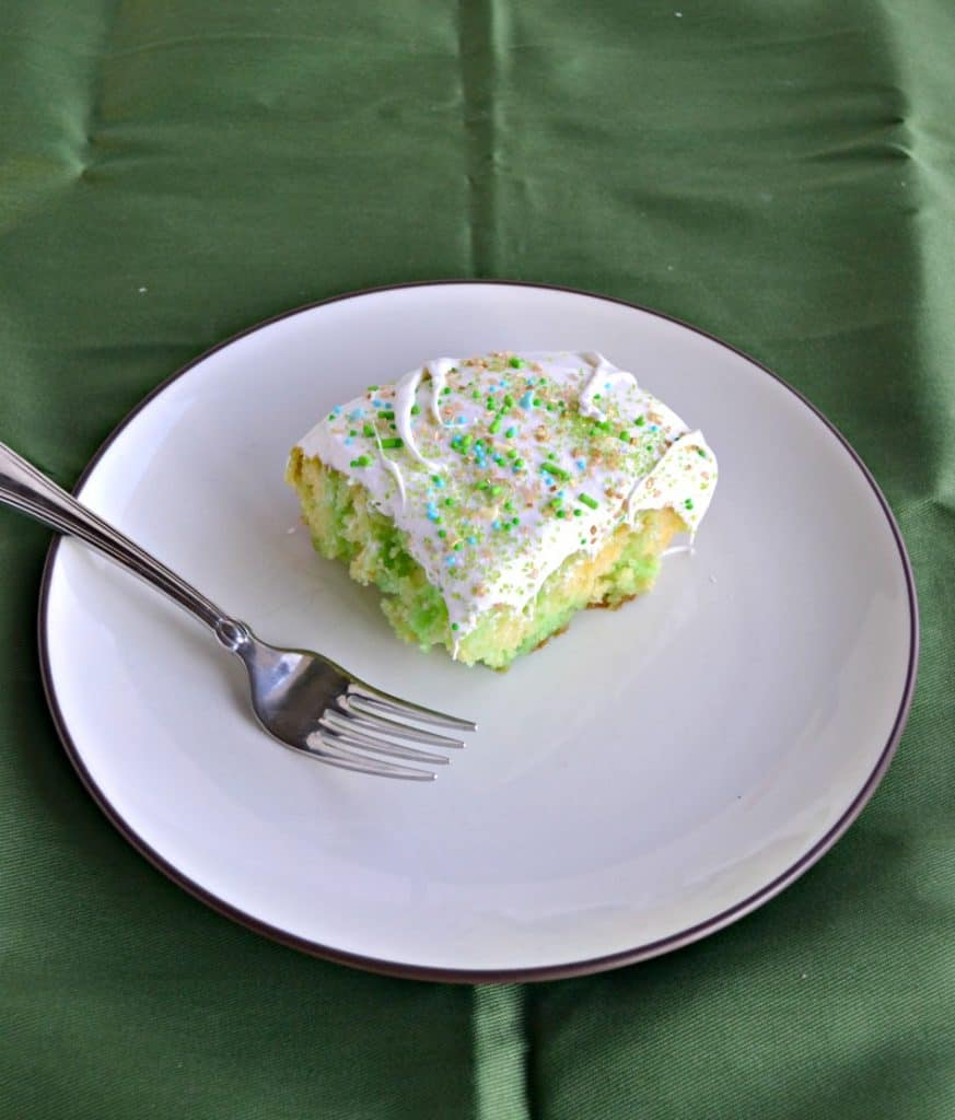 A slice of Lime Poke Cake
