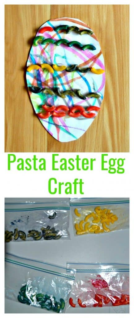 Dying pasta for an Easter egg craft