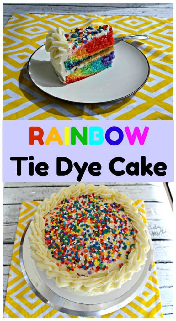 Rainbow Tie Dye Cake inside and out