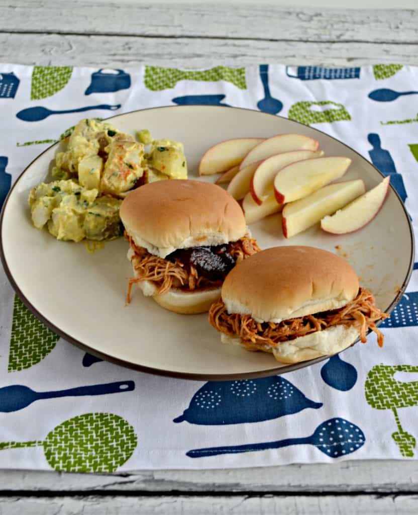 Dinner- 2 BBQ Chicken Sliders and apples