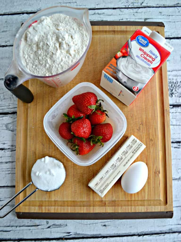 Ingredients to make Strawberry and Cream Scones
