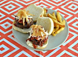 Chorizo and Beef Burger with Bourbon BBQ Sauce, Bacon, Slaw, and Onion Straws