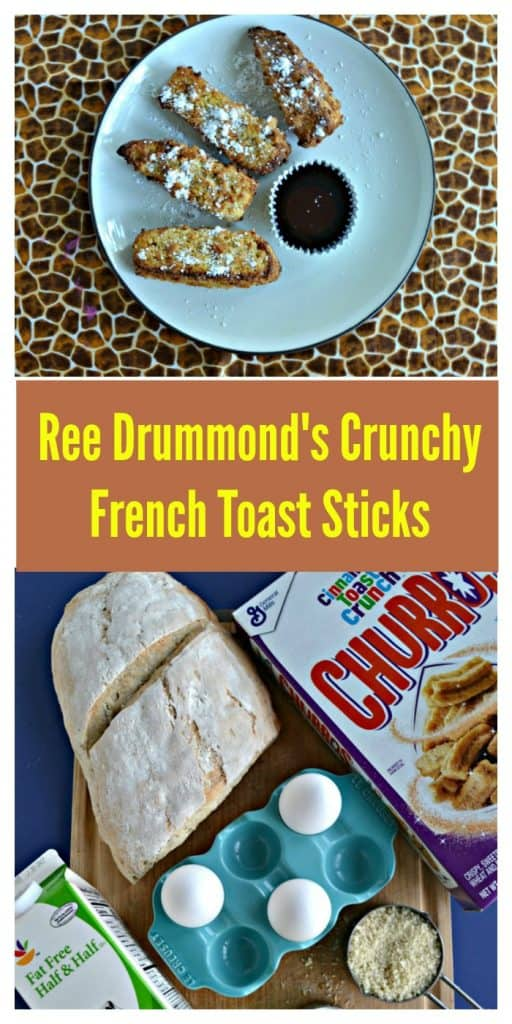 Pin Image: A plate with four French Toast sticks in a semi-circle dusted with powdered sugar with a cup of syrup, Text Overlay, a cutting board with a cereal box, half loaf of French bread, half & half, and eggs on it.
