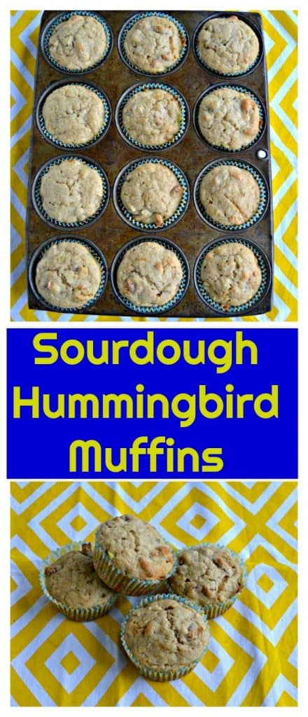 Pin Image: Top image is a muffin tin with hummingbird muffins, bottom image is 4 stacked hummingbird muffins on a yellow placemat all with a text overlay