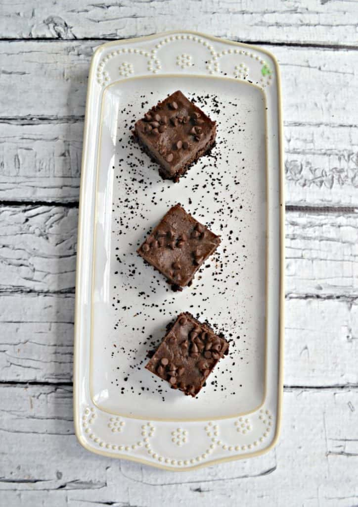 A plate of Frosted mocha Brownies