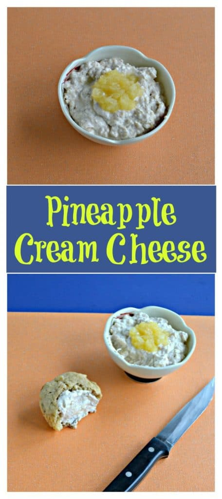 Pin Image: A bowl filled with cream cheese with a spoonful of rushed pineapple on top on an orange background, text overlay, a bowl of cream cheese with a spoonful of pineapple on top sitting next to a muffin spread with cream cheese sitting beside a knife.