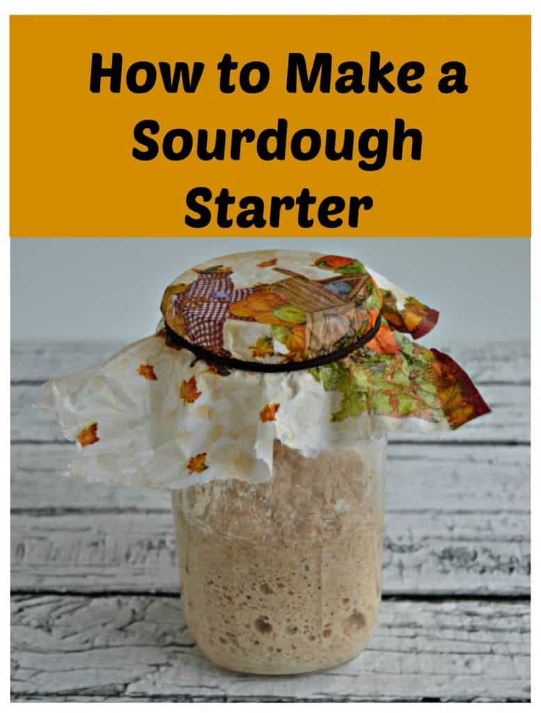 Glass jar with bubbling sourdough starter in it covered by a leaf covered napkin and a text overlay.