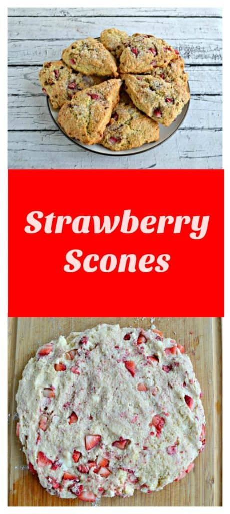 Pin Image-Strawberry Scones piled on a plate, a photo of the scone dough studded with strawberries, overlay of text