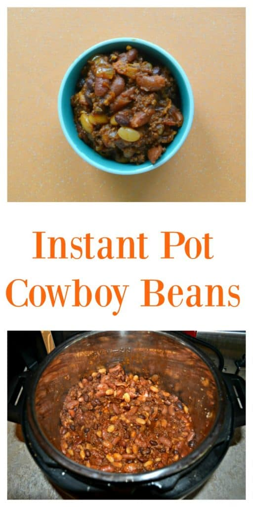 Pin Image: A bowl of baked beans on an orange backdrop, text overlay, top view of an Instant Pot piled high with beans and ground beef.