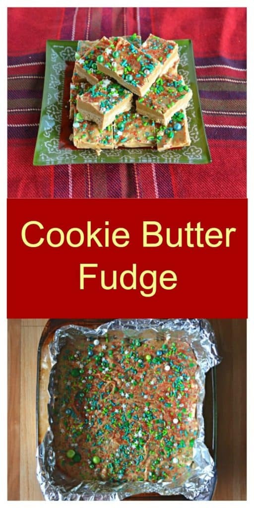 Pin Image: A plate of fudge on a green plate sitting on a red plaid tablecloth, text overlay, a pan of fudge.