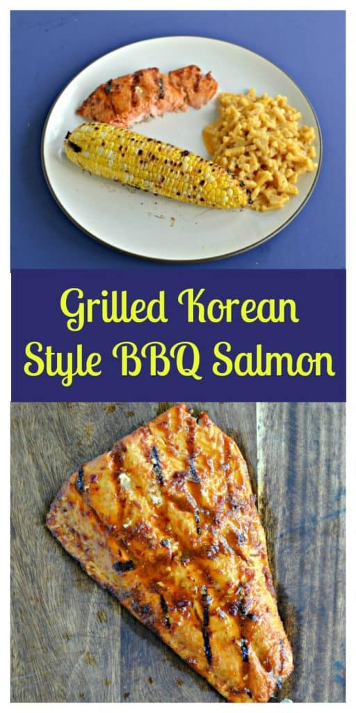 Pin image: A plate with salmon, a piece of corn, and a spoonful of macaroni and cheese, a large salmon filet grilled with BBQ sauce, text overlay.
