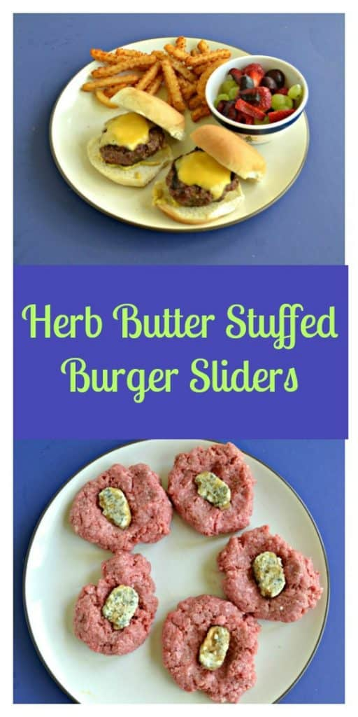 Pin Image: A plate with two burger sliders, a handful of fries, and a cup of mixed fruit on a blue background, Text Overlay, a plate with 5 burger patties each with a butter and herb square in the middle.
