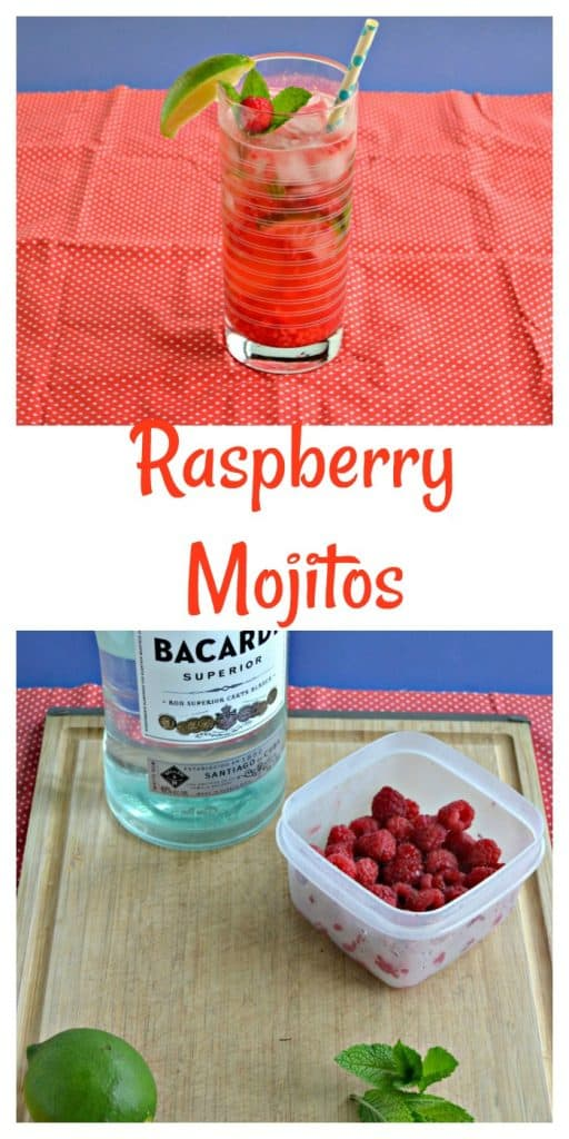 Pin Image: Raspberry Mojito in a tall glass with ice, ingredients for the raspberry mojito on a cutting board, text overlay.