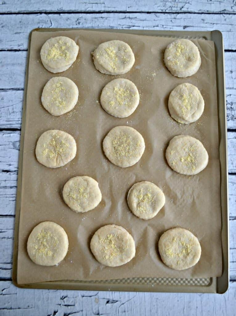 A cookie sheet lined with parchment with 14 dough circles on it.
