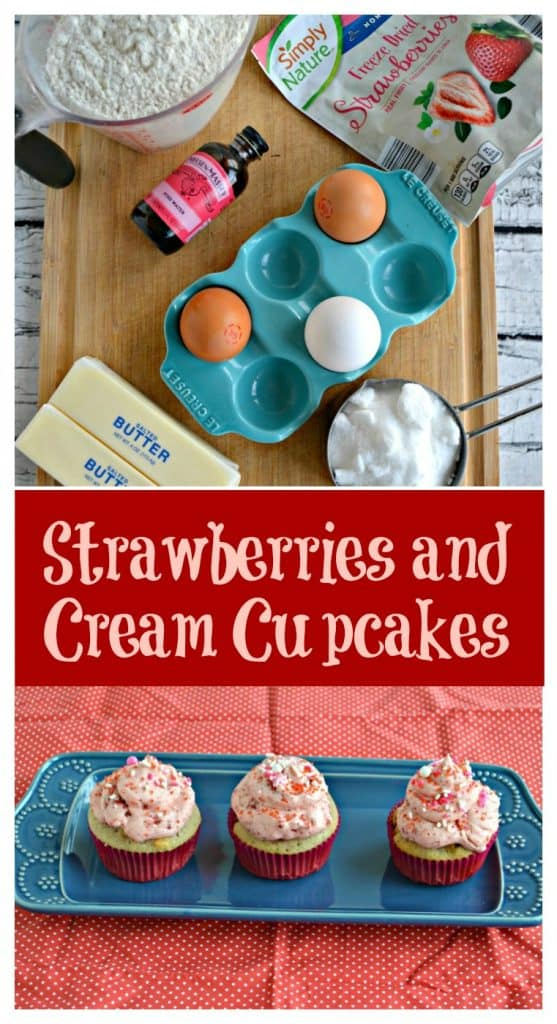Pin Image: Ingredients on a cutting board, text overlay, 3 cupcakes topped with pink frosting on a blue plate on a red background
