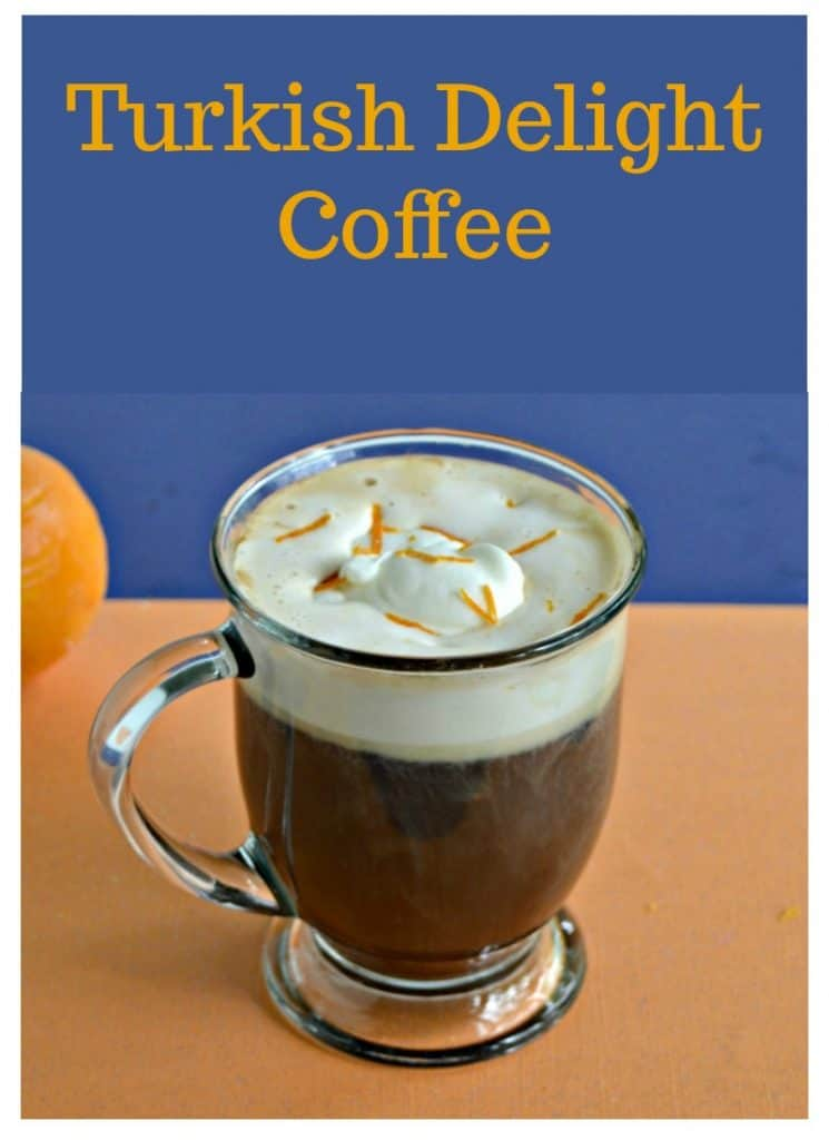 Pin Image: Text overlay over a clear coffee mug filled two thirds of the way with coffee then topped with fresh whipped cream and bits of orange zest.