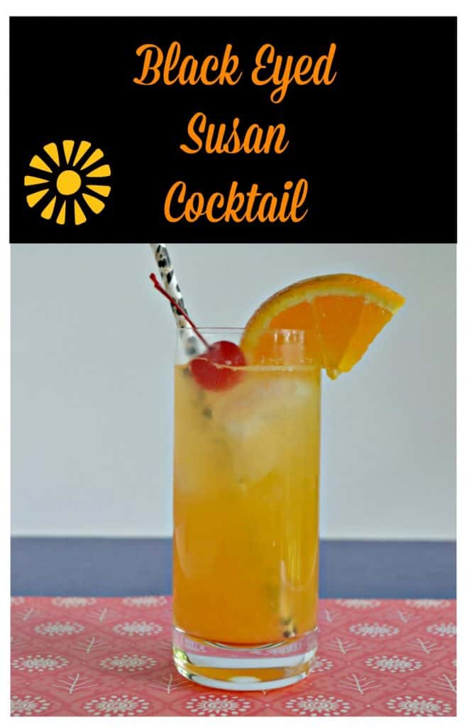 Pin Image: Text Overlay, Tall glass of orange liquid with a cherry and an orange slice garnis and a black straw on a pink and blue background.