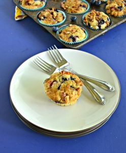 A plate with a blueberry muffin on it with 2 forks on the plate in front of a muffin tin filled with blueberry muffins.