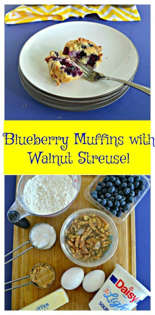 Pin Image: A blueberry muffin on a plate that is split open with a fork sitting in between the pieces and a yellow napkin in the background., text overlay, a cutting board topped with flour, blueberries, walnuts, sugar, eggs,a nd butter.