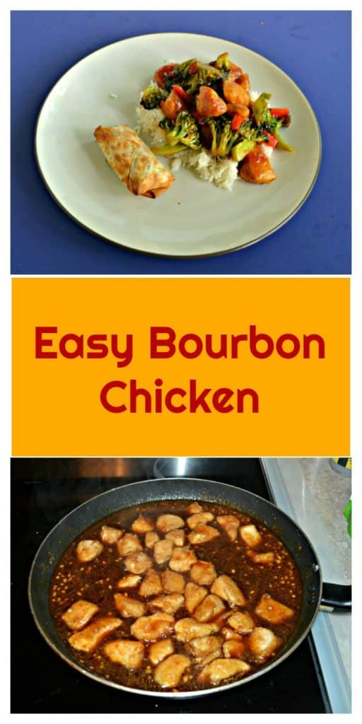Pin Image: A place with an egg roll on one side and a pile of rice topped with broccoli, chicken, and red peppers in a brown sauce, text overlay, a saute pan with chicken bubbling in brown sauce.