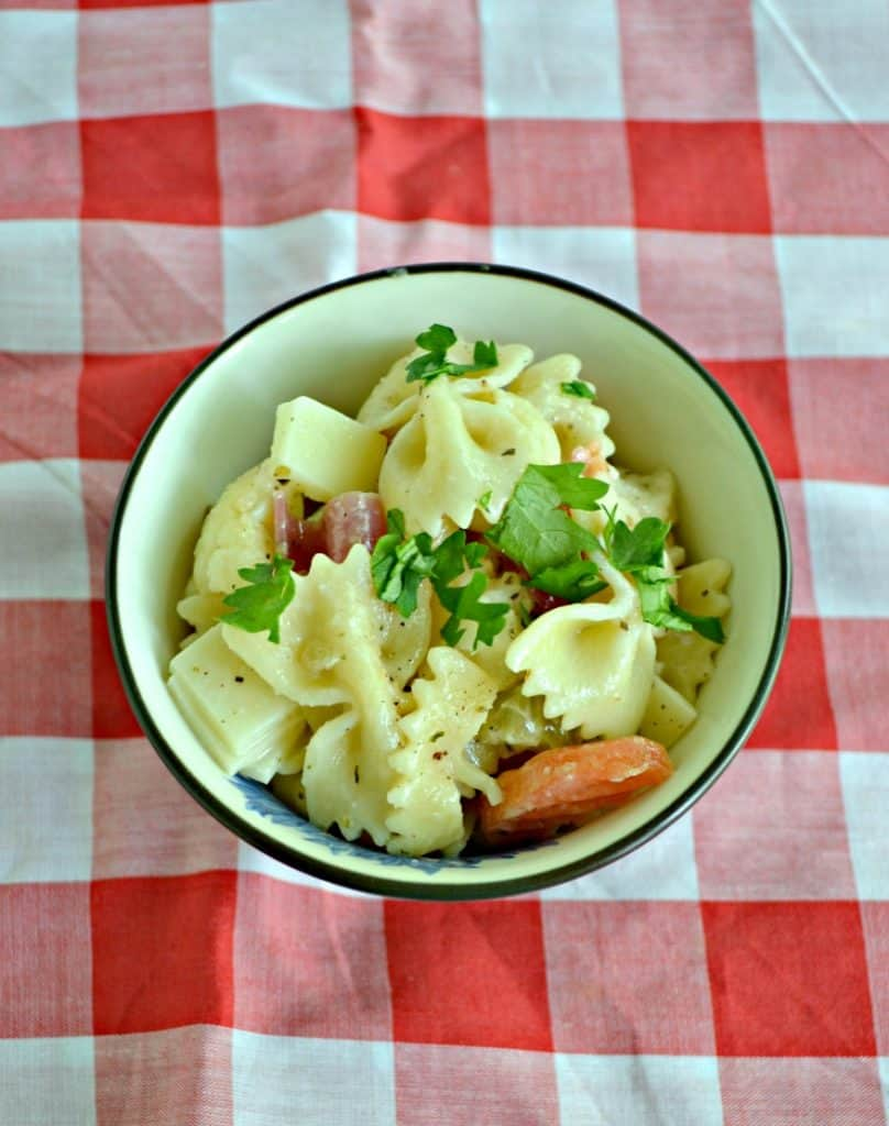 Close up view of a bowl of bow tie pasta with fresh herbs, meats, and veggies on a red and white checked background.