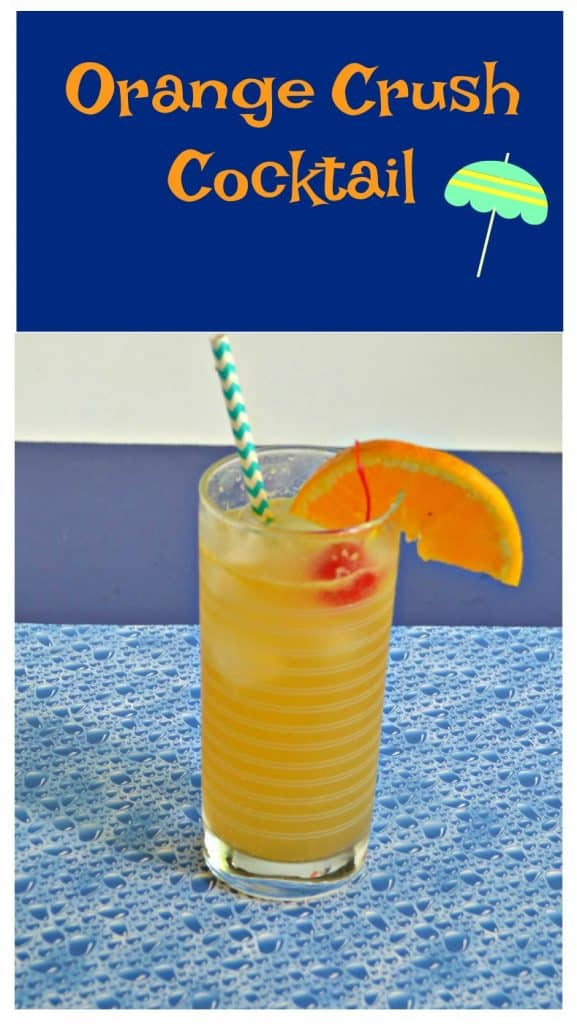 Pin Image: Text Overlay, Orange cocktail with a blue and white striped straw sticking out from the left with an orange slice on the right and a bright red cherry in it.