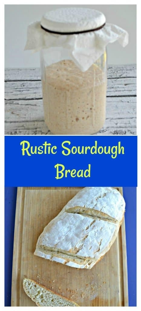 Pin Image: A glass jar with sourdough starter in it, text overlay, a cutting board with a loaf of sourdough bread on it with a piece cut off and turned over to show the inside crumb.