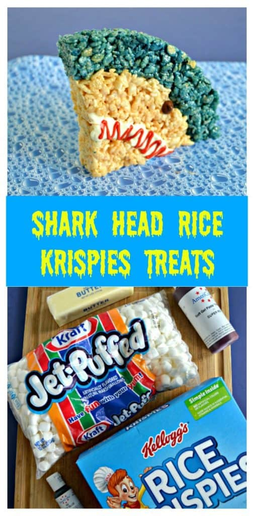 Pin Image: Blue bubble background with a shark rice krispie treat on it (A quarter of a circle with a small blue stripe at the top, regular rice krispies for the rest, a white mouth with red squiggle, and a chocolate chip eye, text overlay, cutting board topped with marshmallows, food coloring, butter, and Rice Krispies.