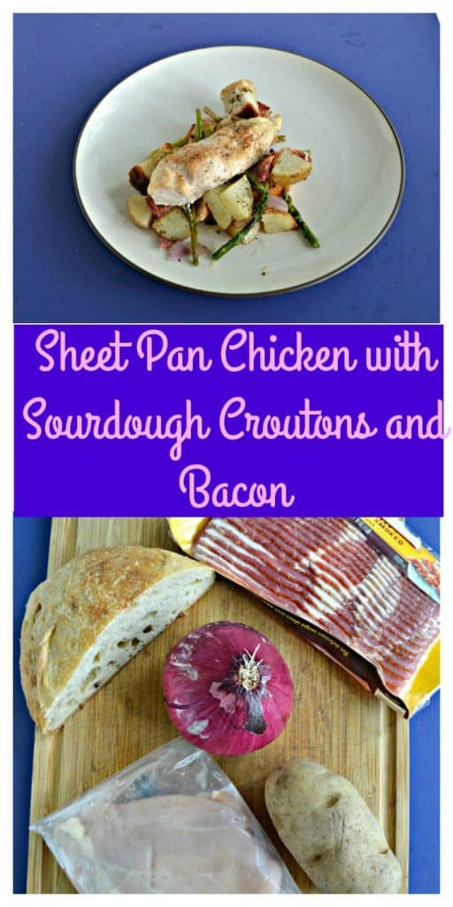 Pin Image: A plate piled with potatoes, croutons, and veggies with a chicken breast on top, text overlay, a cutting board with chicken, bacon, sourdough loaf, and an onion on it.