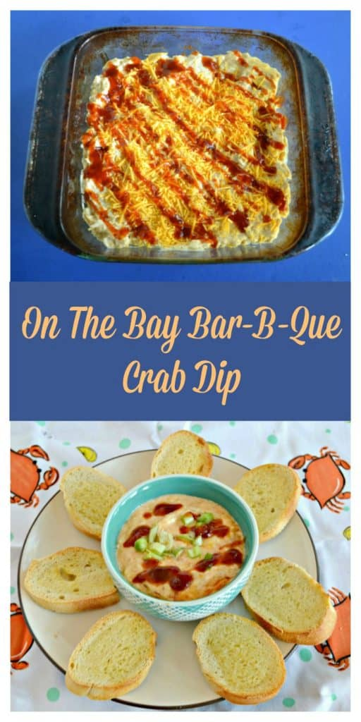 Pin Image: A baking dish filled with crab dip and topped with orange cheddar cheese, a drizzle of BBQ Sauce, and a sprinkle of green onions, text overlay, a plate with a bowl in the middle filled with crab dip drizzled with BBQ sauce and green onions surrounded by buttered crostini.