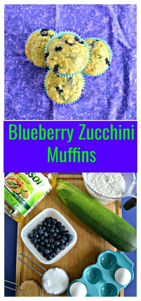 Pin Image: Top view of three muffins facing up with one muffin on top of the other three all on a purple backgound, text overlay, a cutting board with vegetable oil, a cup of flour, a large zucchini, blueberries, eggs, and cups of sugar.