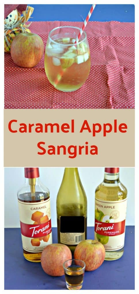 Pin Image: A stemless glass of Caramel Apple Sangria with apple pieces floating in it with a straw sticking out of it on a red background with a scarecrow holding and apple behind the beverage, text overlay, a bottle of caramel syrup, a bottle of wine, a bottle of green apple syrup, and two apples in front of it.