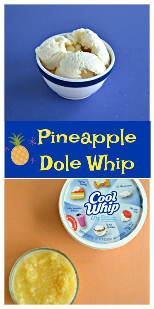 Pin Image: Three Scoops of Ice Cream in a white bowl, text overlay, an orange background with a container of Cool Whip and a dish of pineapple.