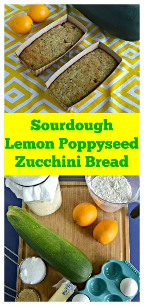 Pin image: A yellow and white placemat with two mini loaves of bread sitting diagnal with two yellow lemons in one corner and a green zucchini in the other corner, text overlay, a cutting board lined with a jar of sourdough starter, a cup of flour, two lemons, a large zucchini, a cup of sugar, 2 eggs, and butter.