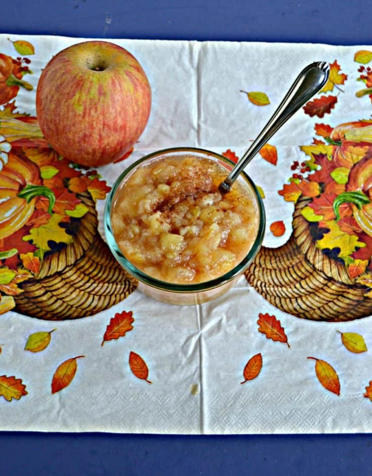 A bowl of apple and pear sauce with a spoon sticking out of it with an apple behind the bowl sitting on a cornucopia background.