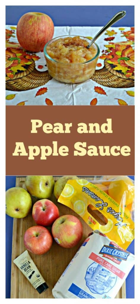 Pin Image: A bowl of Pear and Apple Sauce sitting on a white background printed with brown cornucopias and orange and yellow fall leaves, text overlay, a cutting board with pears, apples, a bag of lemons, a bag of sugar, and a tube of vanilla paste on it.