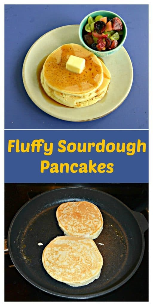 Pin Image: A stack of pancakes on a plate topped with a pat of butter and a bowl of fresh fruit, text overlay, a skillet with two pancakes cooking in it.