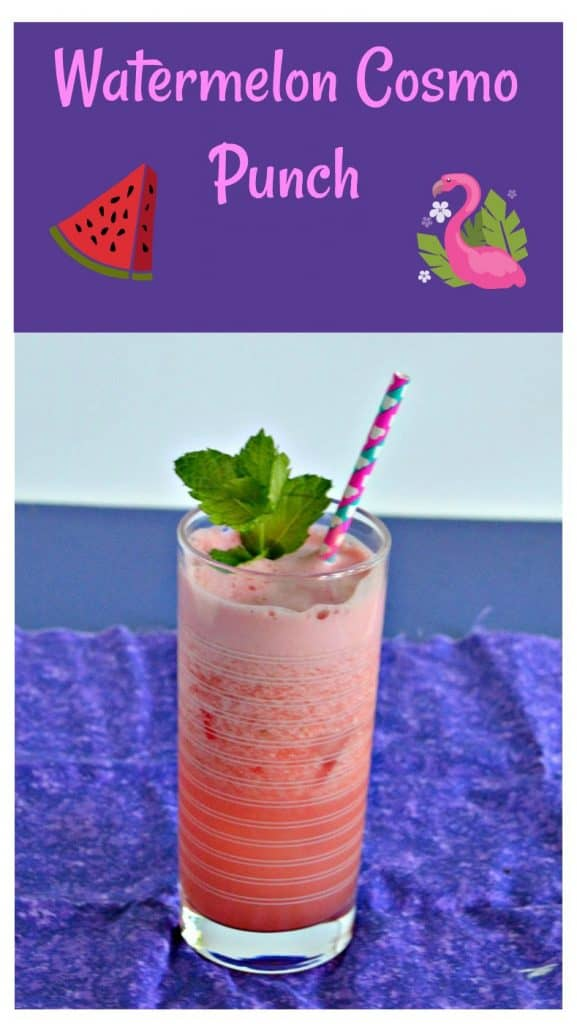 Pin Image: Text Overlay, Bright pink cocktail in a tall glass with a pink and blue sstraw coming out of it, a sprig of bright green mint on top, all on a purple napkin.