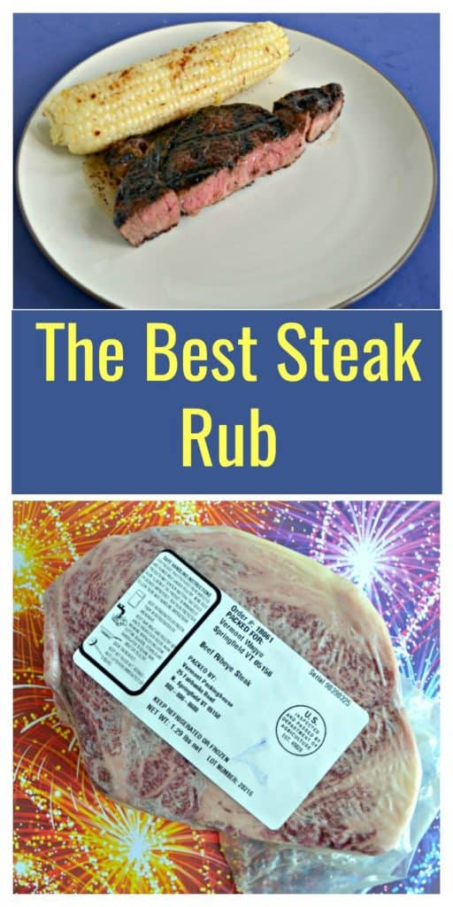 Pin Image: A plate with an ear of corn on the cob with a large piece of steak in front of it that hass grill marks on the top and a pink center sitting on a plate on a blue background, text overlay, a large ribeye vaccum sealed sitting on a red, yellow, blue, and purple fireworks background.