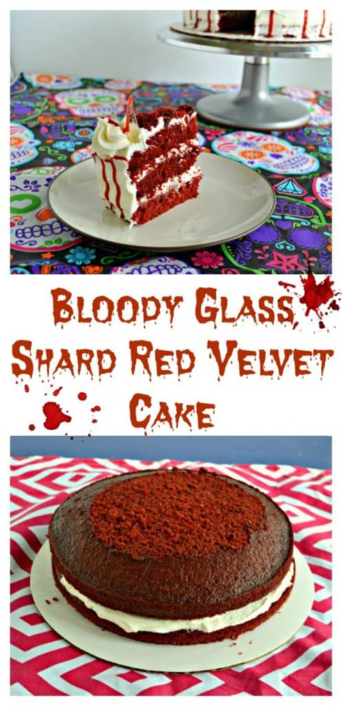 Pin Image: A large slice of red velvet cake with three layers in between buttercream frosting with a red drizzle running down the side and a candy glass shard sticking out of it. In the upper right hand corner you can see a silver cake stand with a white cake and bloody drizzle on it, text overlay, red velvet cakes with buttercream frosting in the middle on a red and white tablecloth.