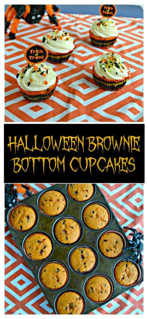Pin Image: Four cupcakes with white frosting and black and orange sprinkles with a pumpkin topper on an orange and white background with an orange and black spider creeping up on them from the back left, text overlay, a muffin tin with 12 cupcakes in it with a spider creeping in from the top left on an orange and white background.