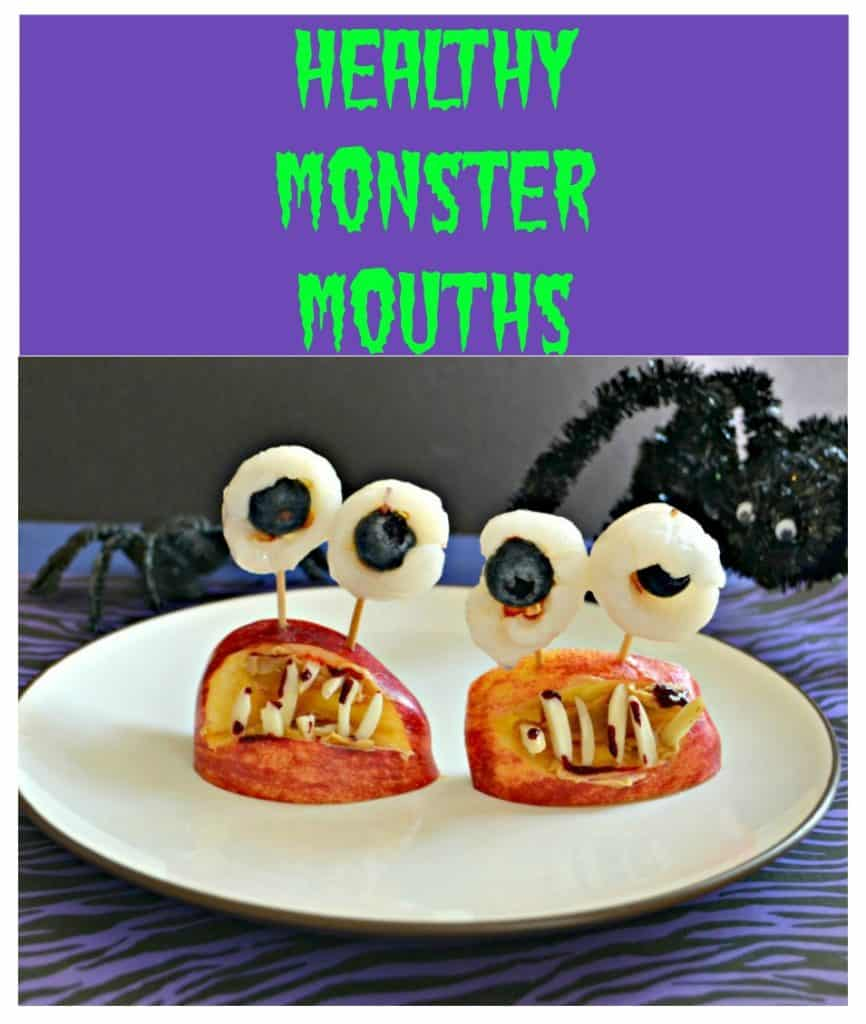 Pin Image: Text overlay, A plate with two monster mouths on it made of apple wedges, eyeballs made out of lychee with blueberries in them, and almond teeth, a spider creeping in from the back right, on a purple and black background.